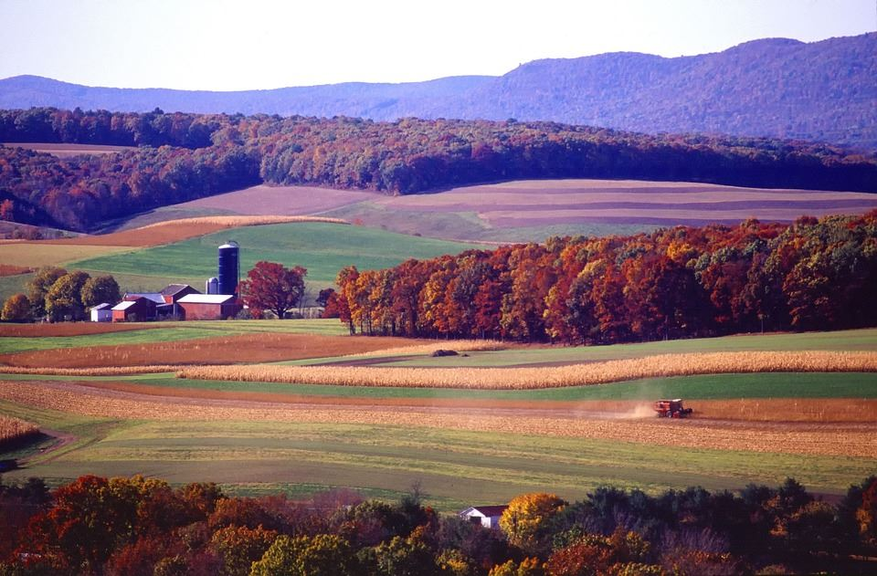 Farm land in the Fall.